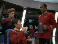 "Janeway, Tuvok, and Sulu aboard the Excelsion (""Flashback"")."